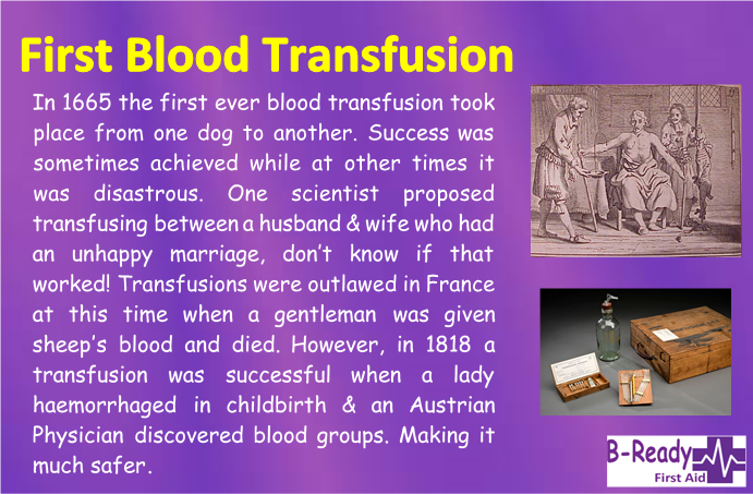 B-Ready First Aid info about the first blood transfusion