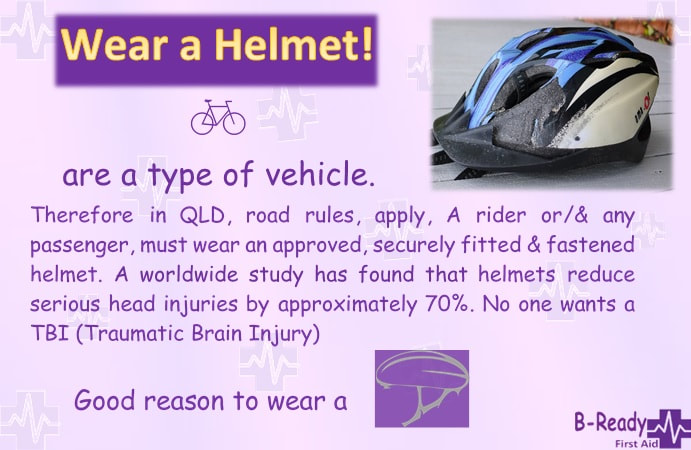 B-Ready First Aid info about wearing a helmet