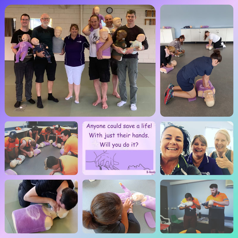 Pictures in a collage of students who have successfully trained with B-Ready First Aid with a central text of Anyone could save a life! With just their hands. Will you do it?