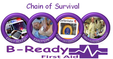 Chain of Survival picture, 4 links early access, early CPR, early defibrillation, early advanced care